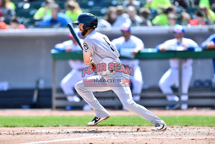 Jackson Generals second baseman Kevin Medrano (6) swings at a pitch during a game against the Tennessee Smokies at Smokies Stadium on April 11, 2018 in Kodak, Tennessee. The Generals defeated the Smokies 6-4. (Tony Farlow/Four Seam Images)