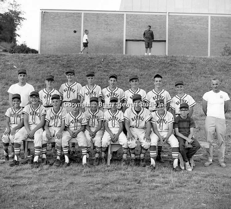 Bethel Park PA:  Brady Stewart Jr. regularly took team photographs for some of the baseball teams.  This is another Pony League team. Team members that I remember are; Mike Dobis, Larry Hominsky, Bob Culligan, Gary Smith, (?), (?), (?), David Page, Jeff Tate, Coach Culligan, (?), (?), (?), Doug McCaulke (?) Fran Gail, (?), Coach Gail