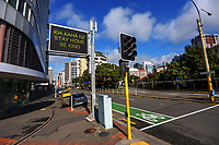 Featherston Street, Wellington CBD, at 10.30am, Monday during Level 4 lockdown for the COVID-19 pandemic in Wellington, New Zealand on Monday, 30 August 2021.