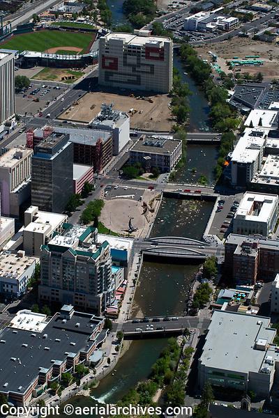 aerial photograph of the Reno Riverwalk district, Reno, Washoe County, Nevada