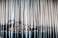 A huge curtain illustration of Istanbul at a film lot in the city centre.