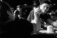 """Pat Baffa tries to take his opponent down at the 28th Annual Big Apple Grapple, held in New York City on March 19, 2005.  The tournament is the first in the 2005 New York Arm Wrestling Association's """"Golden Arm Series""""."""