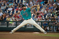 Cole Schaefer #34 of the Coastal Carolina Chanticleers pitches during a College World Series Finals game between the Coastal Carolina Chanticleers and Arizona Wildcats at TD Ameritrade Park on June 27, 2016 in Omaha, Nebraska. (Brace Hemmelgarn/Four Seam Images)