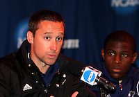 Coach Caleb Porter and Kofi Sarkodie #8 of the University of Akron at a post game press conference after the 2010 College Cup semi-final against the University of Michigan at Harder Stadium, on December 10 2010, in Santa Barbara, California.Akron won 2-1.
