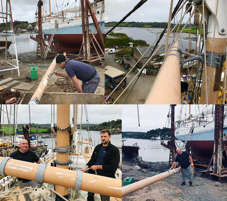 The work is continuous – a collage showing some of the many and various maintenance tasks required to keep Ilen up to standard. Photos: Gary Mac Mahon