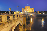 St. Angelo Bridge with Castel Sant' Angelo at dusk, Rome, Italy