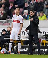 11.02.2018,  Football 1.Liga 2017/2018, 22. match day,  VfB Stuttgart - Borussia Moenchengladbach, in Mercedes-Benz-Arena Stuttgart. v.re: Trainer Tayfun Korkut (Stuttgart) wechselt Holger Badstuber (Stuttgart) ein. *** Local Caption *** © pixathlon