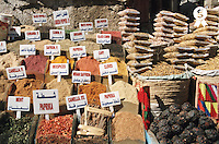Herbs and spices displayed on stall in bazaar (Licence this image exclusively with Getty: http://www.gettyimages.com/detail/200387966-001 )
