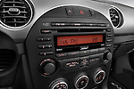 Stereo audio system close up detail view of a 2010 Mazda Miata MX5