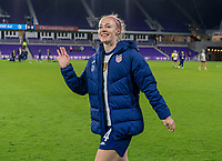 ORLANDO, FL - JANUARY 18: Becky Sauerbrunn #4 of the USWNT waves to the fans after a game between Colombia and USWNT at Exploria Stadium on January 18, 2021 in Orlando, Florida.