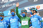 Maglia Verde Vincenzo Albanese (ITA) and Eolo-Kometa Cycling Team at sign on before the start of Stage 3 of Tirreno-Adriatico Eolo 2021, running 219km from Monticiano to Gualdo Tadino, Italy. 12th March 2021. <br /> Photo: LaPresse/Gian Mattia D'Alberto | Cyclefile<br /> <br /> All photos usage must carry mandatory copyright credit (© Cyclefile | LaPresse/Gian Mattia D'Alberto)