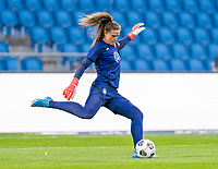 LE HAVRE, FRANCE - APRIL 13: Alyssa Naeher #1 of the USWNT warms up before a game between France and USWNT at Stade Oceane on April 13, 2021 in Le Havre, France.