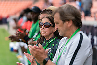 HOUSTON, TX - JUNE 10: Lauren Gregg of Nigeria watches the national anthems play before a game between Nigeria and Jamaica at BBVA Stadium on June 10, 2021 in Houston, Texas.