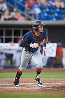 Bowing Green Hot Rods left fielder David Olmedo-Barrera (23) runs to first after hitting a home run during a game against the Quad Cities River Bandits on July 24, 2016 at Modern Woodmen Park in Davenport, Iowa.  Quad Cities defeated Bowling Green 6-5.  (Mike Janes/Four Seam Images)