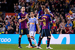 Andres Iniesta of FC Barcelona (R) hugs his teammates before leaving the field during the La Liga match between Barcelona and Real Sociedad at Camp Nou on May 20, 2018 in Barcelona, Spain. Photo by Vicens Gimenez / Power Sport Images