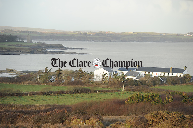 A view of Colaiste Eoghain Ui Chomhraidhe, Carrigaholt, which was damaged during the flooding and storms and where the only access is by a bog road. Photograph by John Kelly.