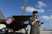 FORT LAUDERDALE FL - NOVEMBER 19: F-35 demonstration team pilot Captain Kristin ìBEOî Wolfe is seen on the tarmac during press day for the Fort Lauderdale Air Show at the Fort Lauderdale-Hollywood International Airport on November 19, 2020 in Fort Lauderdale, Florida. Credit: mpi04/MediaPunch
