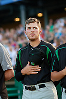 Dayton Dragons Ryan Campbell during the national anthem before a Midwest League game against the Kane County Cougars on July 20, 2019 at Northwestern Medicine Field in Geneva, Illinois.  Dayton defeated Kane County 1-0.  (Mike Janes/Four Seam Images)