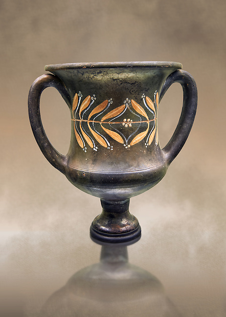 Early 3rd century B.C Etruscan wine Krater, black and overpainted with a leaf design, inv 4382, National Archaeological Museum Florence, Italy