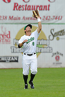 Brett Thomas #8 of the Clinton LumberKings catches a fly ball against the Kane County Cougars at Ashford University Field on July 5, 2014 in Clinton, Iowa. The Cougars won 4-0.   (Dennis Hubbard/Four Seam Images)