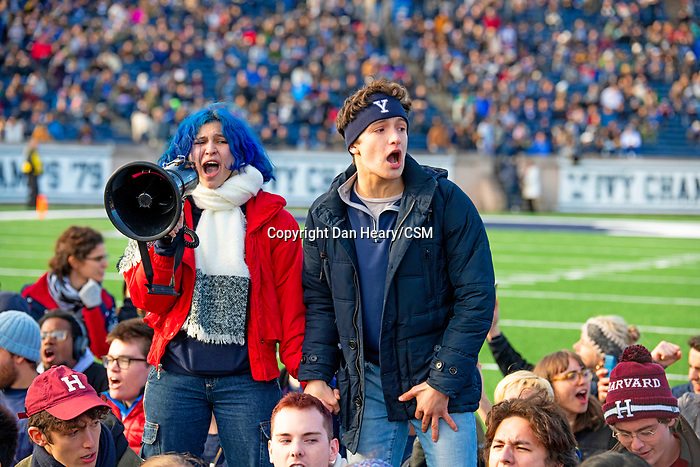 "November 23, 2019: Yale defeated Harvard in double overtime 50-43, in a contest marked by a ""fossil fuel"" protest. It was at halftime of the 136th Ivy League meeting as the ""sit-in"" took place on the 50-yard line at Reese Stadium in new Haven, Connecticut. Dan Heary/Eclipse Sportswire/CSM"