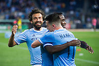 BRONX, NY - Thursday June 02, 2016: Jack Harrison scores the first goal of his MLS and professional career.  New York City FC loses 2-3 to Real Salt Lake at home at Yankee Stadium in regular season MLS play.