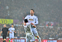 swansea...sport..swansea v aston villa...friday 26th december 2014...<br /> <br /> <br /> Swansea's Gylfi Sigurdsson celebrating his goal
