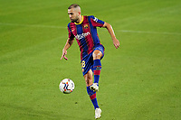 4th October 2020; Camp Nou, Barcelona, Catalonia, Spain; La Liga Football, Barcelona versus Sevilla; Jordi Alba controls the through ball as Barca go on the attack