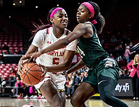 COLLEGE PARK, MD - FEBRUARY 03: Nia Clouden #24 of Michigan State defends against Kaila Charles #5 of Maryland during a game between Michigan State and Maryland at Xfinity Center on February 03, 2020 in College Park, Maryland.