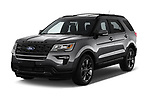 2019 Ford Explorer XLT 5 Door SUV angular front stock photos of front three quarter view
