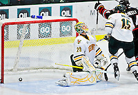 26 November 2010: University of Vermont Catamount goaltender Rob Madore, a Junior from Pittsburgh, PA, gives up a third period goal to the Northeastern University Huskies at Gutterson Fieldhouse in Burlington, Vermont. Madore turned away 23 shots as the Catamounts and the Huskies battled to a 2-2 tie. Mandatory Credit: Ed Wolfstein Photo