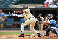 J.C. Flowers (8) of the Florida State Seminoles lays down a bunt against the North Carolina Tar Heels in the 2017 ACC Baseball Championship Game at Louisville Slugger Field on May 28, 2017 in Louisville, Kentucky. The Seminoles defeated the Tar Heels 7-3. (Brian Westerholt/Four Seam Images)