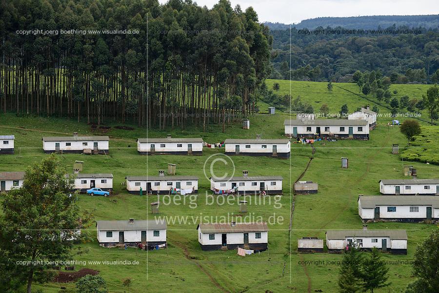 KENYA Kericho, tea plantation, settlement for worker / KENIA Kericho, Teeplantage, Siedlung fuer die Plantagenarbeiter