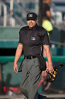 Home plate umpire Joe Gonzalez before a California League game between the Modesto Nuts and the Lake Elsinore Storm at John Thurman Field on May 11, 2018 in Modesto, California. Modesto defeated Lake Elsinore 3-1. (Zachary Lucy/Four Seam Images)