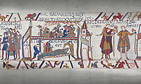 Bayeux Tapestry scene 27-28 :  A dying Edward the Confessor makes