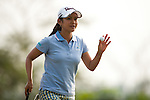 CHON BURI, THAILAND - FEBRUARY 16:  Ai Miyazato waves to the crowd after a putt on the 17th hole during day one of the LPGA Thailand at Siam Country Club on February 16, 2012 in Chon Buri, Thailand.  Photo by Victor Fraile / The Power of Sport Images