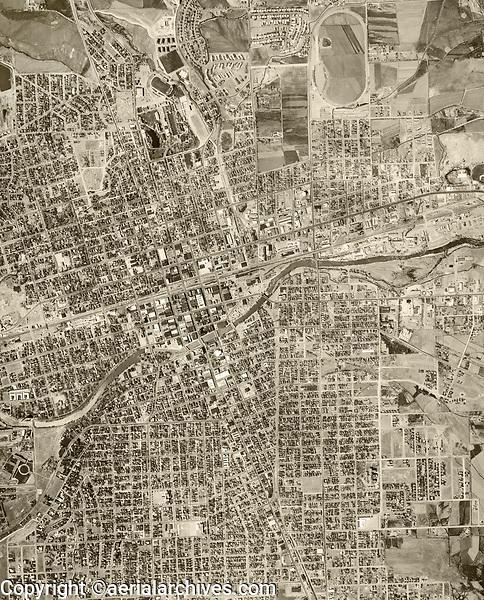 historical aerial photograph Reno, Nevada, 1953