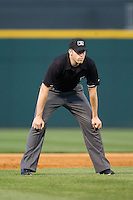 Umpire Nick Lentz during the International League game between the Lehigh Valley IronPigs and the Charlotte Knights at BB&T Ballpark on May 8, 2014 in Charlotte, North Carolina.  The IronPigs defeated the Knights 8-6.  (Brian Westerholt/Four Seam Images)
