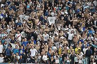 BOGOTA - COLOMBIA -20 -11-2016: Hinchas del Millonarios animan a su equipo durante el encuentro entre Millonarios y Independiente Medellín por la fecha 20 de la Liga Aguila II 2016 jugado en el estadio Nemesio Camacho El Campin de la ciudad de Bogota./ Fans of Millonarios cheer for their team during the match between Millonarios and Independiente Medellin for the date 20 of the Liga Aguila II 2016 played at the Nemesio Camacho El Campin Stadium in Bogota city. Photo: VizzorImage / Gabriel Aponte / Staff.