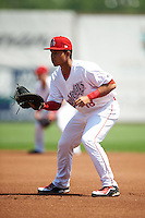 Auburn Doubledays first baseman Oliver Ortiz (18) during a game against the Vermont Lake Monsters on July 13, 2016 at Falcon Park in Auburn, New York.  Auburn defeated Vermont 8-4.  (Mike Janes/Four Seam Images)