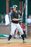 Bristol White Sox third baseman Eric Grabe #40 awaits a pitch  during a game against the Elizabethton Twins at Joe O'Brien Field on June 25, 2012 in Elizabethton, Tennessee. The Twins defeated the White Sox 9-1. (Tony Farlow/Four Seam Images).
