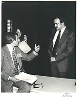 Luc Lacharite, Directeur general de l'UMQ et Guy Tardif au congres de l'UMQ, le 16 mars 1979<br /> <br /> <br /> PHOTO :  Agence Quebec Presse