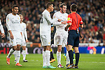Real Madrid's Gareth Bale and Danilo da Silva protesting the referee after a penalty whistle during La Liga match. March 20,2016. (ALTERPHOTOS/Borja B.Hojas)