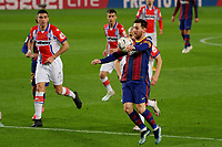 13th February 2021; Camp Nou, Barcelona, Catalonia, Spain; La Liga Football, Barcelona versus Deportivo Alaves; Leo Messi FC Barcelona brings down the ball high on his chest as he pushes forward