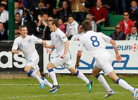 Bradley Smith (C) of England celebarte his score with teammates Nicholas Powell (R) and Alex Henshall (L) during the UEFA U-17 championship Group A match between England and Serbia on May 9, 2011 in  Indjija, Serbia (Photo by Srdjan Stevanovic/Starsportphoto.com)