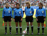 Sandra Hunt, Karalee Sutton, Brenda Wright, Kari Seitz.US Women's National Team vs Brazil at Legion Field in Birmingham, Alabama.