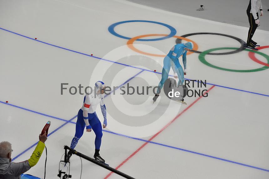 OLYMPIC GAMES: PYEONGCHANG: 19-02-2018, Gangneung Oval, Long Track, 500m Men, Pekka Koskela (FIN), Roman Krech (KAZ), ©photo Martin de Jong