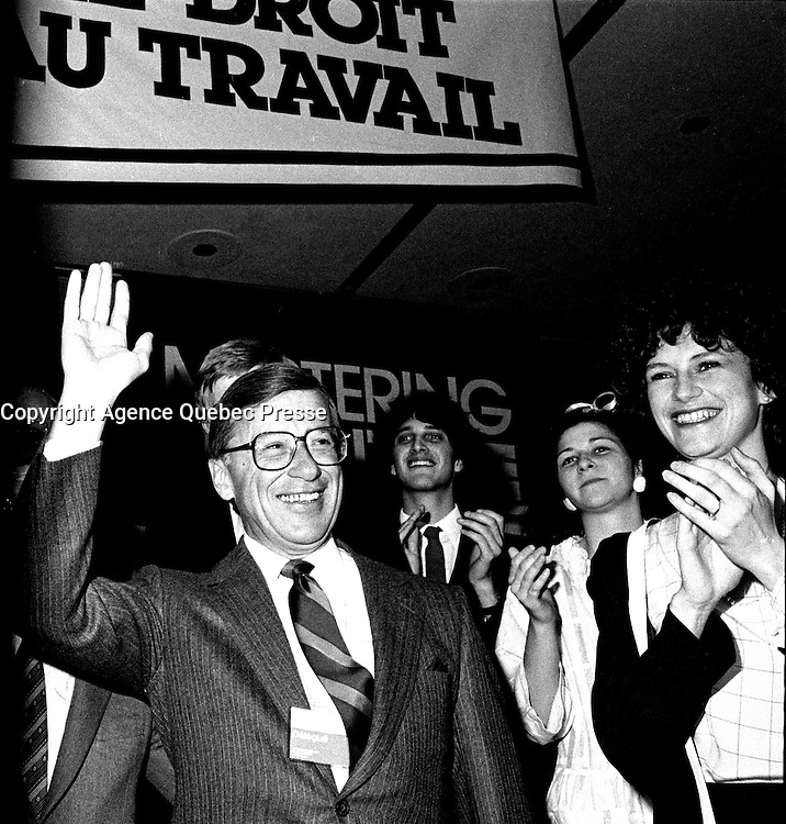 Montreal, CANADA, March 3rd 1985 - File Photo -  Gerard D. Levesque attend the  Liberal Party of Quebec's Convention at the Queen Elizabeth hotel. -