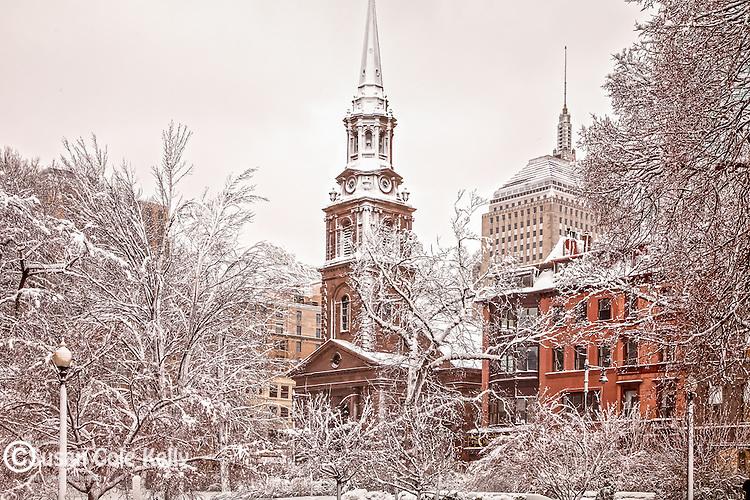 Arlington Street Church in winter, Boston, MA, USA
