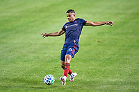 CHICAGO, UNITED STATES - AUGUST 25: Miguel Angel Navarro #6 of Chicago Fire dribbles the ball during a game between FC Cincinnati and Chicago Fire at Soldier Field on August 25, 2020 in Chicago, Illinois.